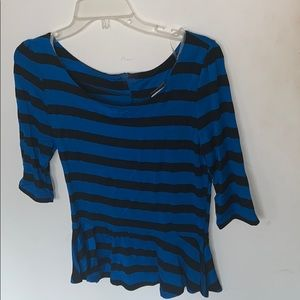 Tops - Blue and black striped peplum top!